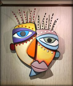 More fun with carved styrofoam and acrylic chalk paint. Thought I needed some feminine wall sculptures. Picasso Art, Picasso Cubism Paintings, Cubist Art, Abstract Face Art, Cardboard Art, Masks Art, Sculpture Art, Wall Sculptures, Chalk Art