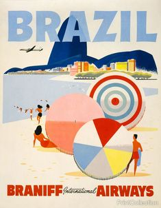 Brazil Branniff Travel Poster created in the 1950's as a color lithograph at 65.7 x 51.2 cm. Travel poster for Braniff International Airways flights to Brazil showing a men, women, and umbrellas on a