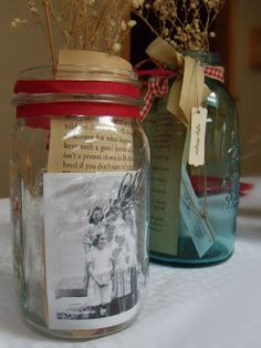 Mason Jars as centerpiece with family photos   She Loves To Make Art