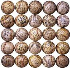 Array of autographed baseballs, 1950s-80s  For a baseball fan, getting a ball signed by a favorite player can be the ultimate thrill. Autographed balls also become valuable collector's items, with certain signatures fetching very high prices. The Smithsonian's sports history collection includes baseballs signed by many noted players. Some have come from memorabilia dealers, others from the fans who collected them.