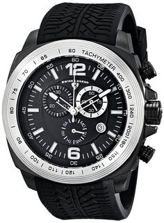 Swiss Legend Men's 21046-BB-0-21818D-02 'Sprinter' Stainless Steel Watch with Black Silicone Strap ** Check this awesome product by going to the link at the image.