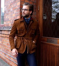 """refinedcoast: """"Unreal belted suede jacket from Morris Heritage. Suede Jacket, Leather Jacket, Trending Outfits, Nice Dresses, Menswear, Street Style, Mens Fashion, Stylish, How To Wear"""