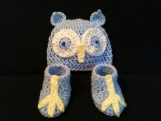 Baby Blue Owl Beanie and Owl Feet Booties by BeesBootiesAndMore, $26.00