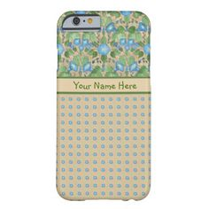 A light-weight and slim Case to personalize for your iPhone 6 smartphone, with a pattern of blue Morning Glory flowers teamed with a matching Polka Dot pattern, all on a beige background. Part of the Posh & Painterly 'Morning Glory' collection, this pattern will fit all of the cases. Up to $47.95 -http://www.zazzle.com/blue_morning_glory_and_polkas_slim_iphone_6_case-256947835806577217?rf=238041988035411422&tc=pintw
