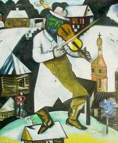 Marc Chagall    Kemancı / The Fiddler    1912-1913. Tuval üzerine yağlıboya. 184 x 148.5 cm. Kraliyet Koleksiyonu, Lahey.