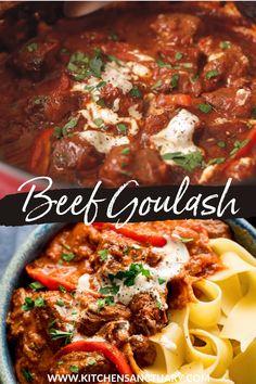 Crockpot Goulash Recipe, Mini Crockpot Recipes, Beef Stew Crockpot Easy, Easy Casserole Recipes, Slow Cooker Beef, Easy Chicken Recipes, Slow Cooker Recipes, Recipe Stew, Beef Chunks Recipes
