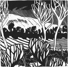 Abstract Landscape Linocut Print 7 by jessfreeman on Etsy, £30.00