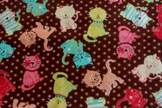 FQ Little Kitten Colorful Cats Fabric Brown Flowers VHTF fabric Oop So cute