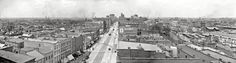 """Columbus, Ohio, circa """"Aerial view from courthouse."""" Shorpy, who knows how to have a good time, is celebrating Columbus Day with this detailed panorama made from three glass negatives. Shorpy Historical Photos, Historical Pictures, Victorian Buildings, Victorian Architecture, Old Pictures, Old Photos, Vintage Photographs, Vintage Photos, Columbus Ohio"""