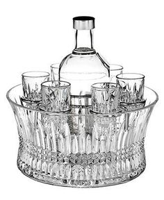 Waterford Crystal, Lismore Diamond Vodka Set in Chill Bowl with Silver Insert ** Read more at the image link. Waterford Lismore, Waterford Crystal, Waterford Ireland, Waterford Glasses, Whisky, Crystal Shot Glasses, Flute Champagne, Vodka Shots, Vodka Drinks