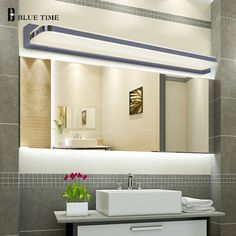 45CM-120CM Mirror light led bathroom wall lamp mirror glass waterproof anti-fog brief modern stainless steel cabinet led light room makeover