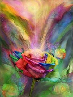 Healing Rose How vibrant Your beauty flows Filling up my Body Mind Spirit Soul With your Chakra rainbow.  Healing Rose prose by Carol Cavalaris  This painting of a rose reflecting all the colors of a Chakra rainbow, with healing energies flowing in abundance and surrounded by Chakra butterflies, is from the Healing Collection, as well as Language Of Flowers collection of art by Carol Cavalaris.