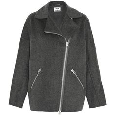 Acne Studios Envier Doublé wool and cashmere-blend biker jacket (30.495 RUB) ❤ liked on Polyvore