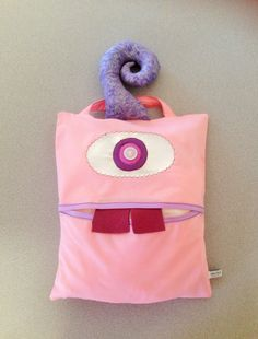 Monster Bag, Soft Pink and Purple one eye, Halloween Monster Bag, girls bag, monster bag, kids bags, toy bags by ColourMeldDesigns on Etsy