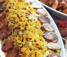 Persian Rice with saffron, potatoes and zereshk (sour berry)