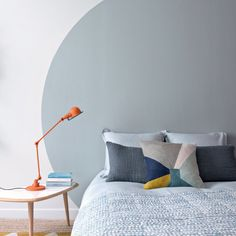 scandinavian design bedroom, retro bed table, design pillows