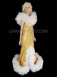 CHARISMATICO Champagne Gold Sequined Ruffled Drag Queen Diva Gown  #charismatico #dragqueenoutfits  #dragoutfits #dragqueencostume #dragcostume Drag Queen Costumes, Drag Queen Outfits, Champagne Gold Color, Gold Gown, Dance Wear, Ruffles, Diva, Gowns, Formal Dresses