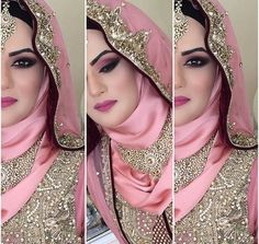 Hijab is a headwear worn by Muslim women to cover their hair, neck and chest. Experiment with different ways of adorning the hijab while preserving your modesty Bridal Hijab Styles, Bridal Mehndi Dresses, Pakistani Wedding Outfits, Muslim Wedding Dresses, Muslim Brides, Pakistani Bridal Wear, Muslim Girls, Indian Bridal, Indian Wedding Jewelry