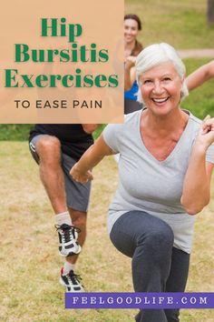 Hip Bursitis Exercises, Bursitis Hip, Hip Mobility Exercises, Hip Strengthening Exercises, Back Pain Exercises, Hip Arthritis Exercises, Lower Back Pain Stretches, Relieve Back Pain, Core Exercises