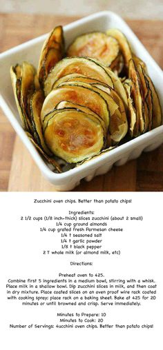 Zucchini chips! Made with bread crumbs instead of almonds.
