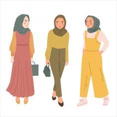 Hijab Cartoon, Cartoon Outfits, Muslim Girls, Muslim Women, Cute Fashion, Woman Fashion, Cute Tumblr Wallpaper, Hijab Casual, Fashion Figures