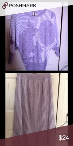 Glittery holiday skirt and top set Glittery skirt with matching top. Size 6. Polyester and acrylic.  Great condition. Savion Skirts High Low