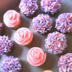 Yummy cupcakes! Pink and lavender! Perfect for welcoming a little princess into the world! Baby showers!