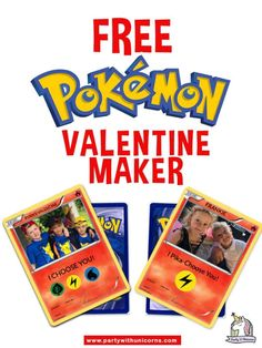 Create your own custom Pokemon Card Valentines with our free tool. Simply upload your picture, add some text and you have your very own custom pokemon valentine. Make one for each of your friends. Pokemon Valentine Cards, Valentine Day Crafts, Valentine Ideas, Valentine Party, Pokemon Birthday, Pokemon Party, Party Printables, Free Printables, Pokemon Card Template