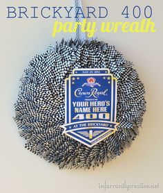 Checkered flag toothpick wreath perfect for a Nascar party