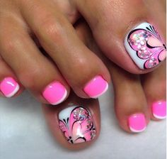 33 toe nail art designs to keep up with trends 00104 Pretty Toe Nails, Cute Toe Nails, Fancy Nails, Pink Nails, Gel Nails, Toenail Art Designs, Pedicure Designs, Pedicure Nail Art, Nagel Bling