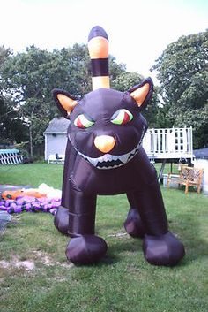 huge 9 10 black cat halloween inflatable blow up - Blow Up Halloween Decorations