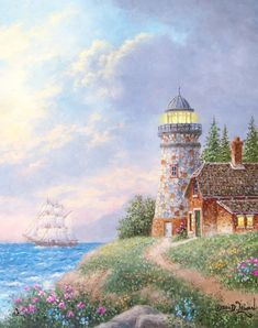 Stoney Lighthouse, The Photo Kinkade Paintings, Seascape Paintings, Scenery Pictures, Landscape Pictures, Thomas Kinkade, Lighthouse Painting, Building Painting, Fantasy Landscape, Beautiful Paintings