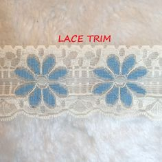 1 YARD, Cream Lace Sewing Edging Trim, Country Blue Flowers, Shaped Scallops, 2-1/2 Inch Wide, L220 by DartingDogCrafts on Etsy