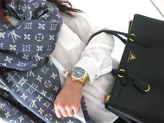 | Prada Bag | Louis Vuitton Scarf |