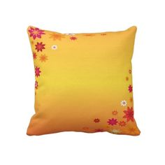 #pillows #flowers #orange #forhome #zazzle #elenaindolfi Floral Orange American Mojo Pillow by elenaind