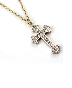 Golden Diamanted Cross Necklace