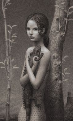 """Thicket"" - Aron Wiesenfeld, charcoal on paper, 2009 {contemporary surrealism artist female standing with iguana reptile girl cropped drawing #loveart} aronwiesenfeld.com"
