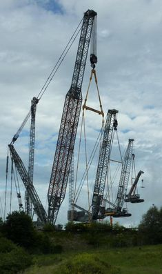 A really huge crane lifts a bunch of other cranes which are each lifting slightly smaller cranes.