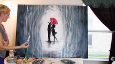 How to paint a rainy day scene with a silhouette of a couple with acrylic paints. Step by step walk through of a popular look and technique. Visit the site s...