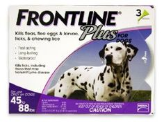 Price:$36.76 Merial Frontline Plus Flea and Tick Control for 45 to 88-Pound Dogs and Puppies, 3-Doses