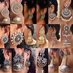 🌟 To buy this oxidised earrings dm or whatsapp me Indian Jewelry Earrings, Silver Jewellery Indian, Jewelry Design Earrings, Indian Wedding Jewelry, Designer Earrings, Fashion Earrings, Fashion Jewelry, Jhumki Earrings, Silver Jewelry