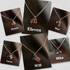 Stranger Things Character Necklaces Will Dustin Mike Stranger Things Halloween, Stranger Things Kids, Bobby Brown Stranger Things, Stranger Things Aesthetic, Stranger Things Netflix, Stranger Things Jewelry, Stranger Things Merchandise, Stranger Things Characters, Starnger Things