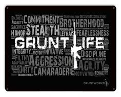 Grunt Life Collage Metal Wall Sign - Gruntworks11b