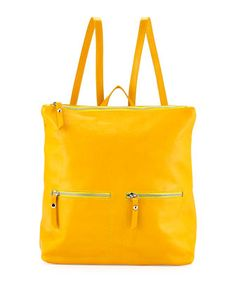 Slouchy Leather Backpack, Yellow by Neiman Marcus Made in Italy at Neiman Marcus Last Call.