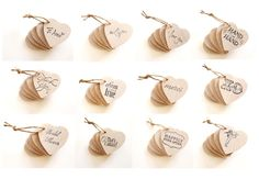 10 Heart Tags, shabby chic wedding favors, wedding decor, wooden heart hang tag, favor tags, country rustic wedding decor, i love you