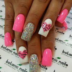 Beach nails, Bright summer nails, Glossy nails, Heart nail designs, Nails with rhinestones, Pink manicure ideas, Sea nails, Stylish nails 2016