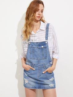 01c2e6bacd Shop Bleach Wash Ripped Denim Overall Dress online. SheIn offers Bleach  Wash Ripped Denim Overall