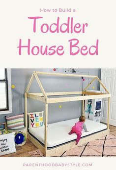 diy toddler bed on floor - diy toddler bed _ diy toddler bed girl _ diy toddler bed boy _ diy toddler bed easy _ diy toddler bed rail _ diy toddler bed on floor _ diy toddler bed with storage _ diy toddler bed plans Toddler House Bed, House Beds For Kids, Diy Toddler Bed, Toddler Rooms, Kid Beds, Toddler Floor Bed Frame, Kids Beds Diy, Toddler Bedding Girl, Bed For Kids