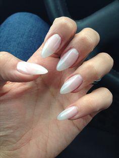 Natural looking gel almond nails