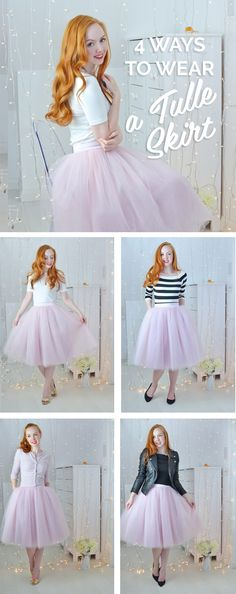 Pretty Amber shows us four ways to wear a light pink tulle skirt